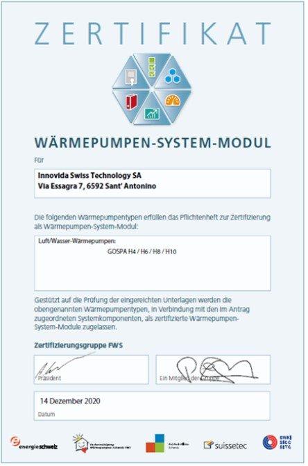 certificato Modulo di sistema _D