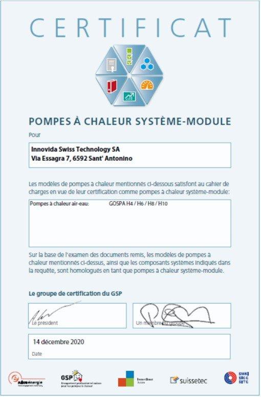 certificato Modulo di sistema _FR