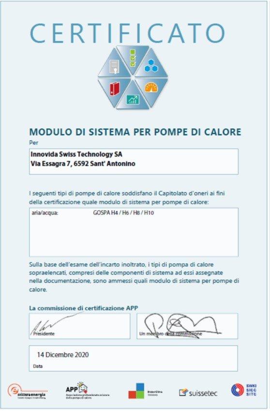 certificato Modulo di sistema _ITA